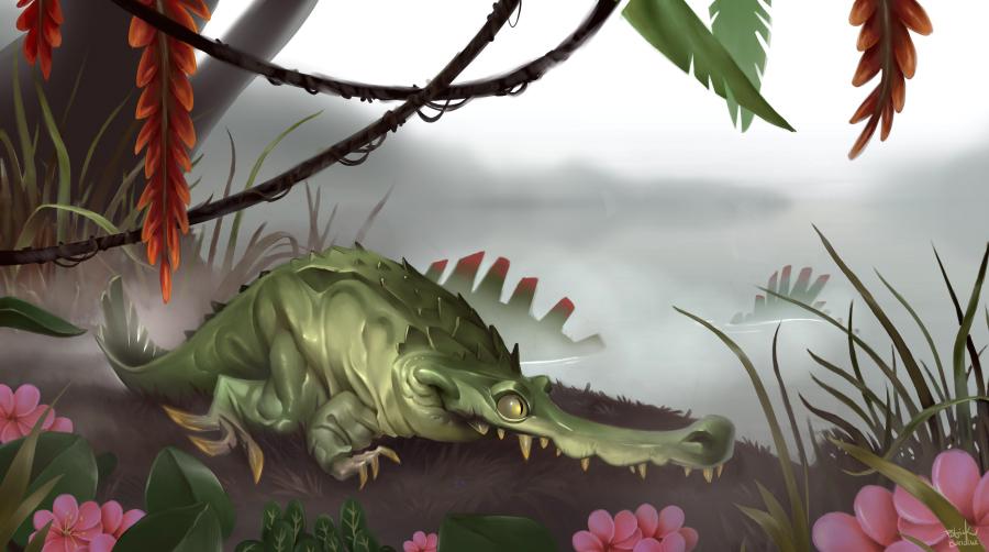ein Krokodil am Wasser