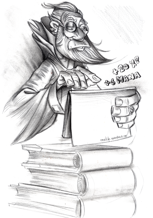 in this sketch by patrick bandau a wizard uses an ipad to get some more mana and xp