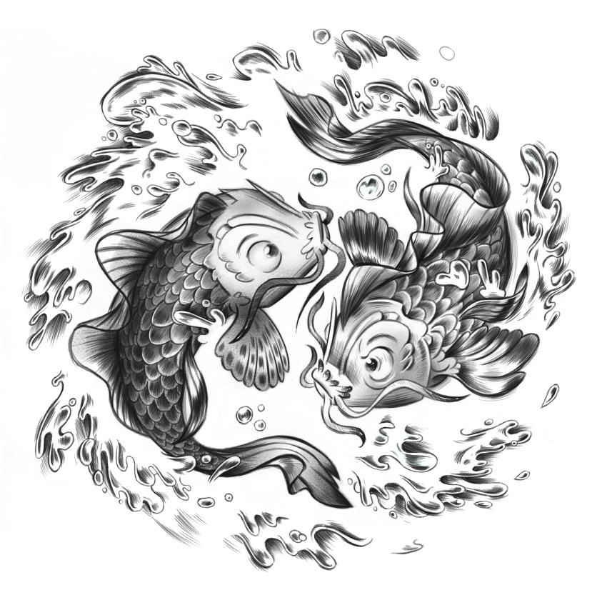 Tierkreiszeichen der Fische Illustration Kalender