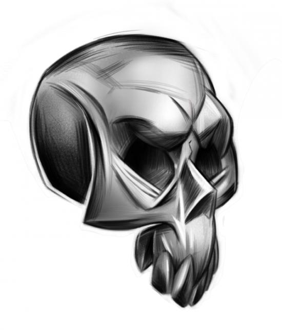 Stilisierter Schädel Zeichnung