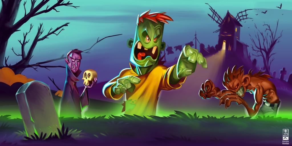 halloween character werwolf frankenstein vampir