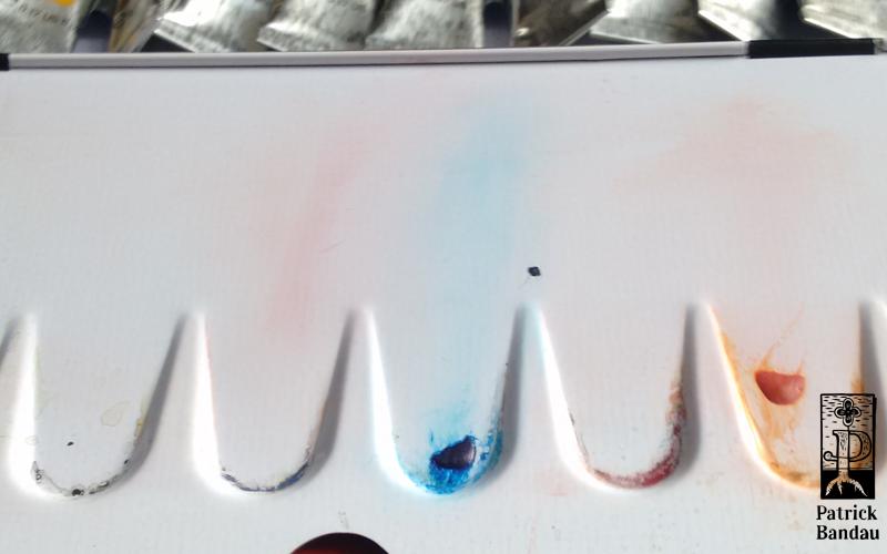 aqaurellpallette verfärbung Phthalo Saphirblau