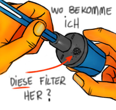 Filter im Fallminen-Anspitzer wechseln