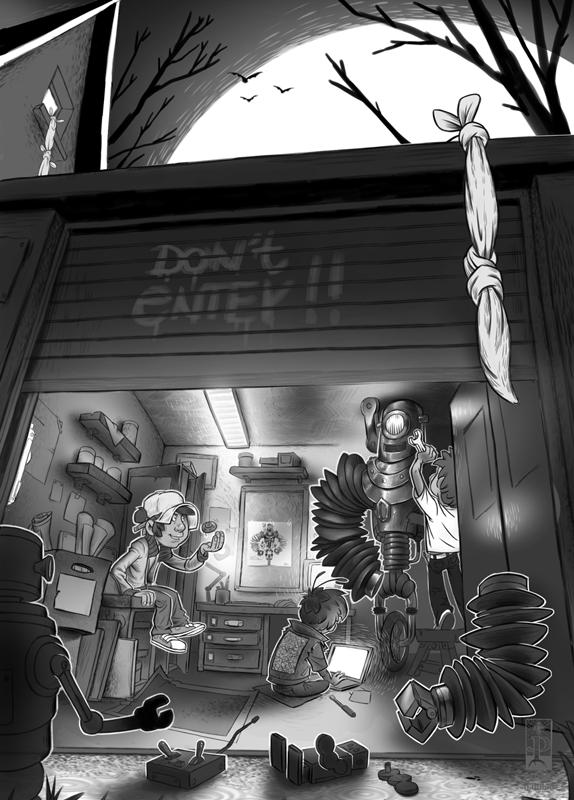 Drei Jungen bauen einen Roboter in einer Garage Illustration