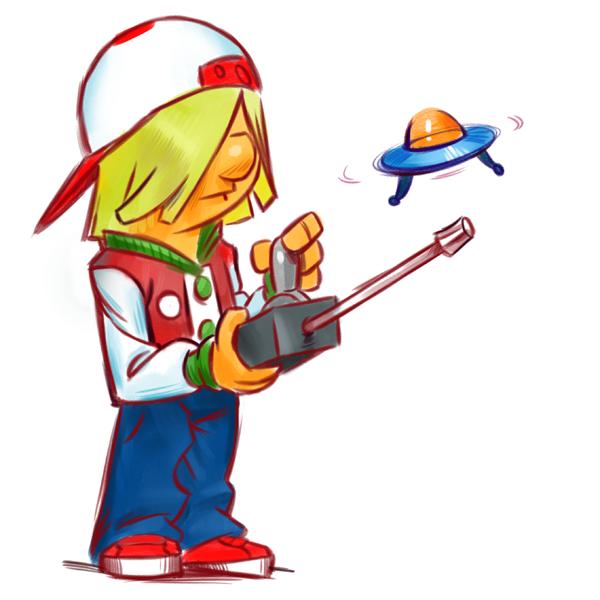 junge ufo cartoon Skizzenbuch