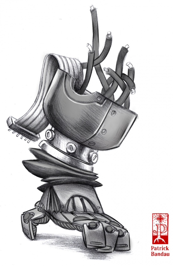Roboter Conceptart Hand Illustration