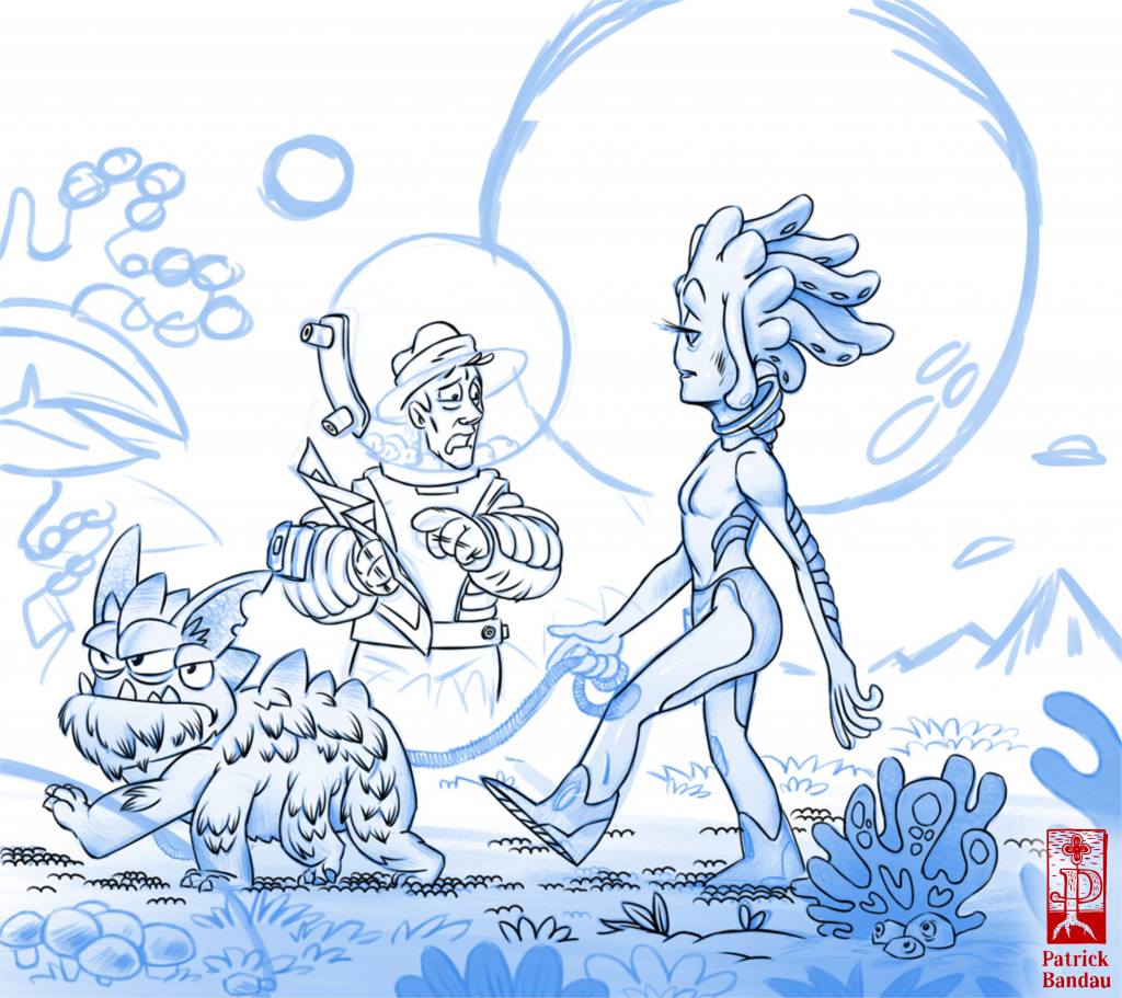 An Illustration of a character asking an alien for the way on an unknown planet. sketch