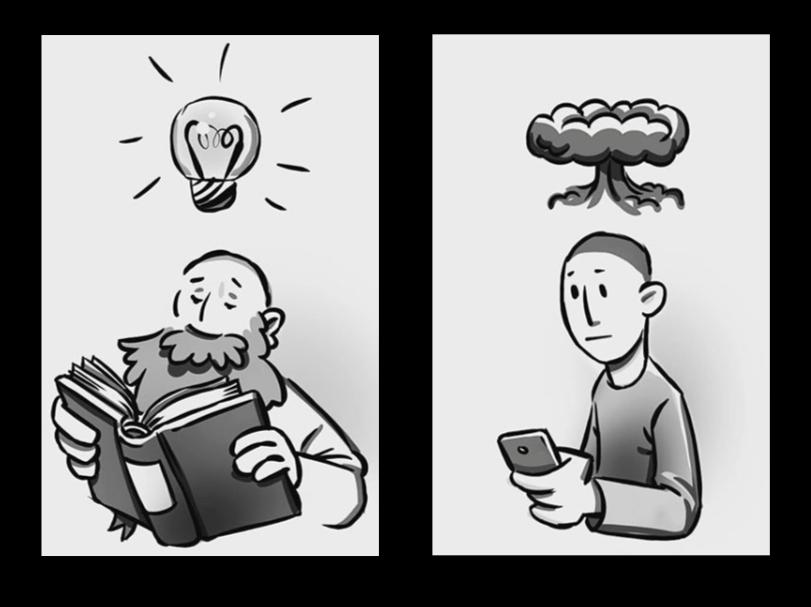 Illustration zum Thema Information. Lesender Mann